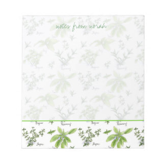 Kitchen Herbs Rosemary Basil Oregano Watercolor Notepad