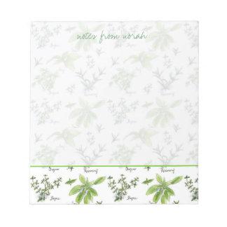 Kitchen Herbs Rosemary Basil Oregano Watercolor Notepad