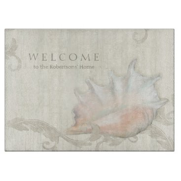Beach Themed Kitchen Hostess Gift Beach Seashells Conch w Wood Cutting Board
