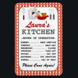 "Kitchen Hours (Personalized) Magnet<br><div class=""desc"">Cute,  personalized kitchen hours magnet.  PLEASE NOTE: resizing to the smaller magnet will cause the entire &quot;menu&quot; to be cut off in the final printing.</div>"
