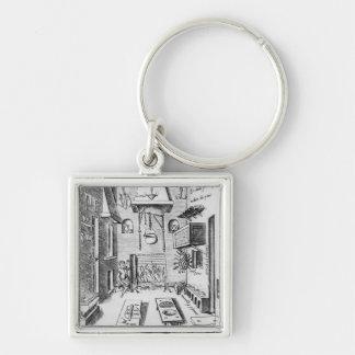 Kitchen interior Silver-Colored square keychain