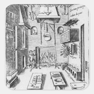 Kitchen interior square sticker