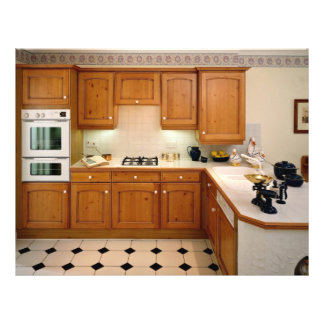 Kitchen interior with breakfast bar and oven flyer