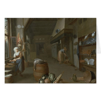 Kitchen interior with two maids preparing food greeting card