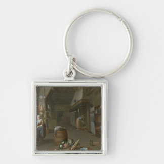 Kitchen interior with two maids preparing food Silver-Colored square keychain