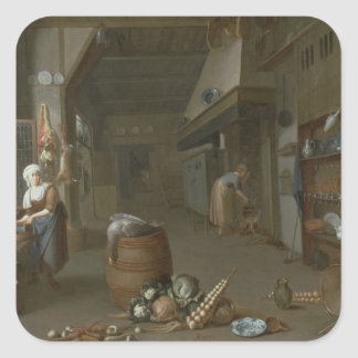 Kitchen interior with two maids preparing food square sticker
