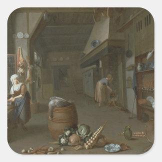 Kitchen interior with two maids preparing food square sticker