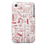 Kitchen Items Pattern red iphone case Case-Mate iPhone 3 Case