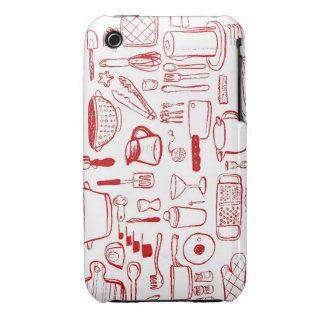 Kitchen Items Pattern red iphone case