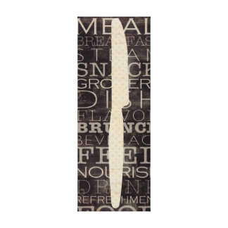 Kitchen Knife with Words Canvas Print