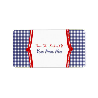 """Kitchen Label- """"From The Kitchen Of"""" Blue Gingham Label"""