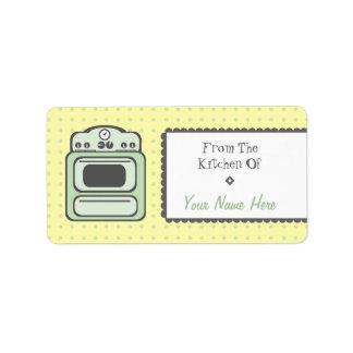 Kitchen Label - Green Retro Stove