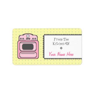 Kitchen Label - Pink Retro Stove