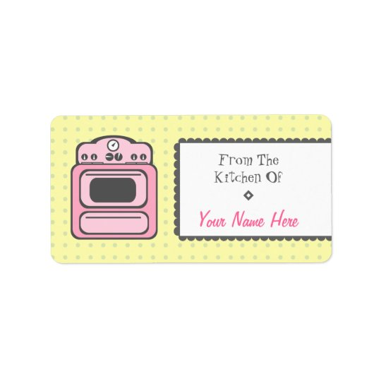 Kitchen Label - Pink Retro Stove
