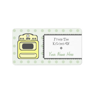 Kitchen Label - Yellow Retro Stove