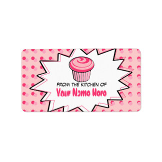 Kitchen Labels - Pop Art - Pink Cupcake
