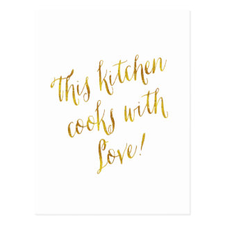 Kitchen Love Quote Faux Gold Foil Pattern Cooking Postcard
