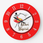Kitchen Magician Red White Retro Numbers Clock