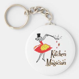 Kitchen Magician Retro Cooking Art Keychain