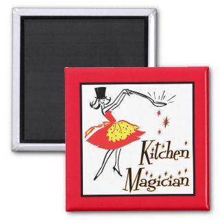 Kitchen Magician Retro Cooking Art Magnet