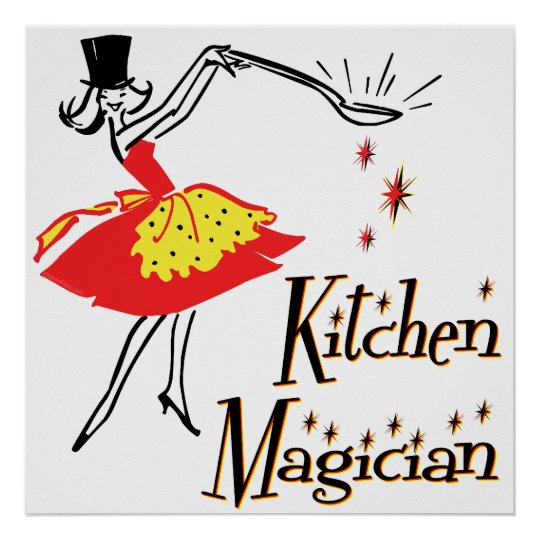 Kitchen Magician Retro Cooking Art Poster
