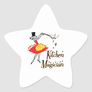 Kitchen Magician Retro Cooking Saying Star Sticker