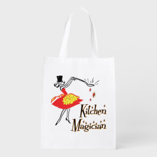 Kitchen Magician Retro Girl Grocery Bag