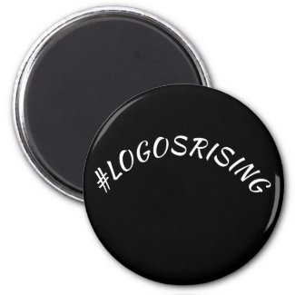 Kitchen Magnet Round Black with white #LOGOSRISING