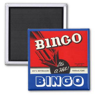 KITCHEN MAGNET ~ VINTAGE Bingo Beverage Ad Label