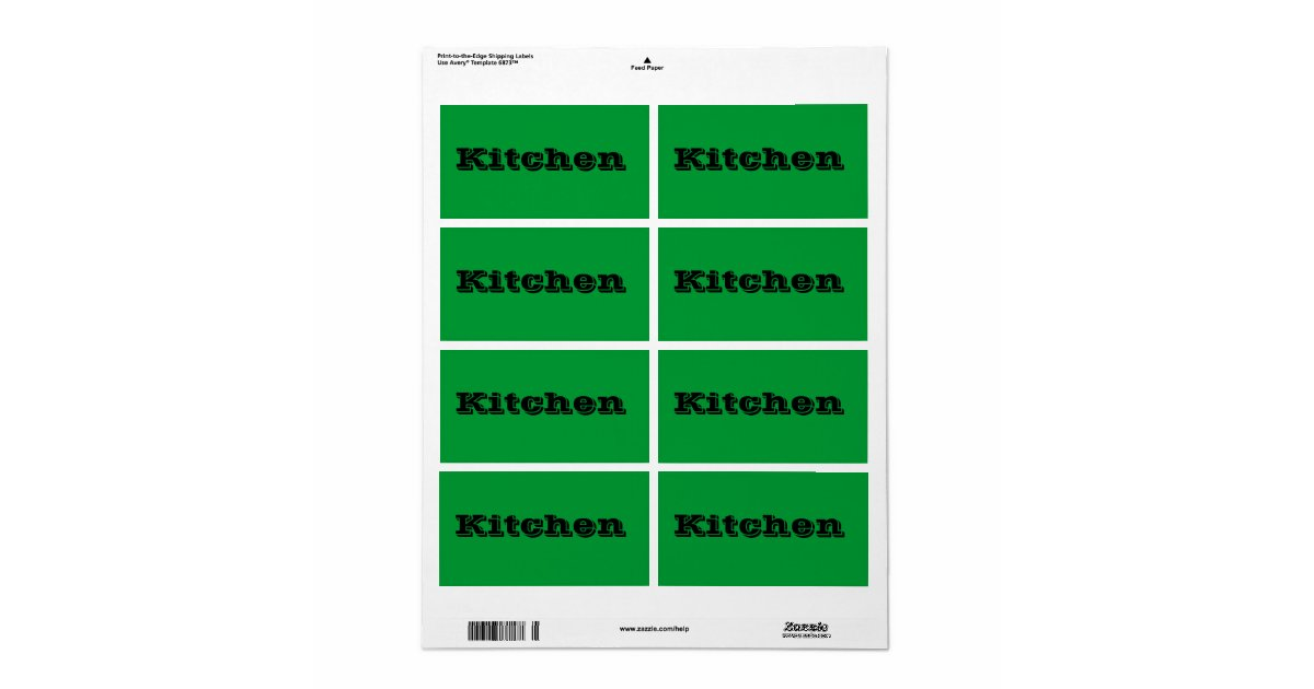 Kitchen Moving Labels In Green Zazzle