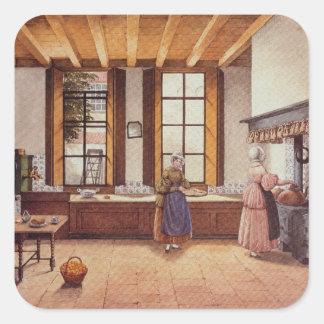 Kitchen of the Zwijnshoofd Hotel at Arnhem, 1838 Square Sticker