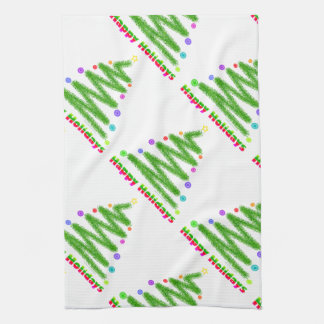 KITCHEN OR BAR TOWEL HAPPY HOLIDAYS CHRISTMAS TREE