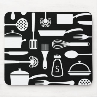 Kitchen or cooking themed black and white mousepad