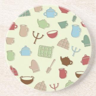 Kitchen pattern drink coaster