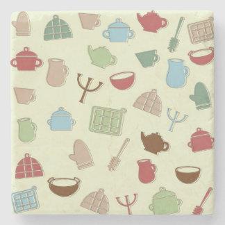 Kitchen pattern stone coaster