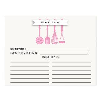 Kitchen Pink Utensils Bridal Shower Recipe Cards