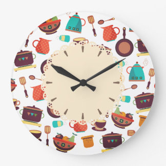 Kitchen pots pans utensils cooking kitchen clock