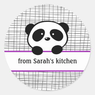 Kitchen Purple Black Panda Canning Stickers