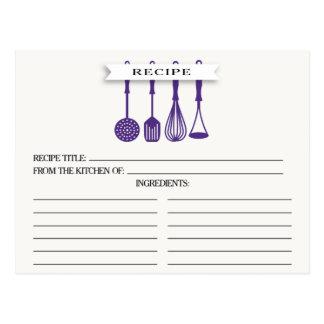 Kitchen Purple Utensils Bridal Shower Recipe Cards