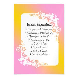 Kitchen Recipe Equivalents Floral Fridge Magnet Magnetic Card