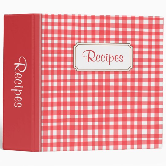 Kitchen recipes binder with red and white gingham