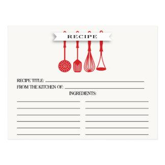 Kitchen Red Utensils Bridal Shower Recipe Cards