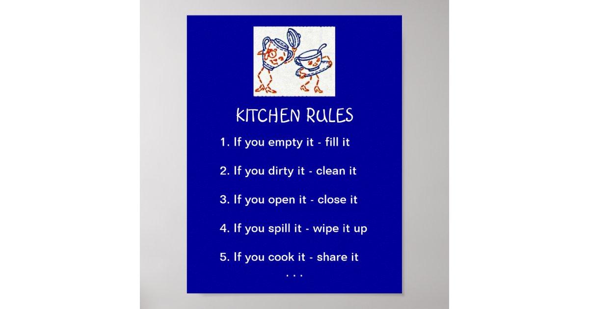 Kitchen Rules Poster Zazzle Com