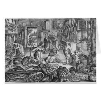 Kitchen scene in the early seventeenth century card