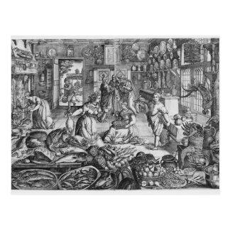 Kitchen scene in the early seventeenth century postcard