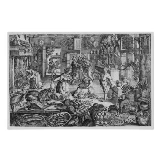 Kitchen scene in the early seventeenth century poster