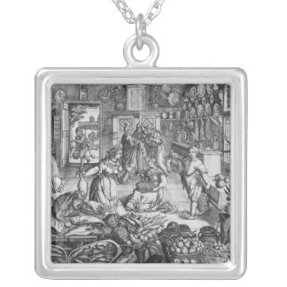 Kitchen scene in the early seventeenth century silver plated necklace