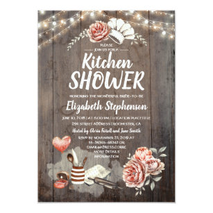 kitchen shower rustic country bridal shower invitation