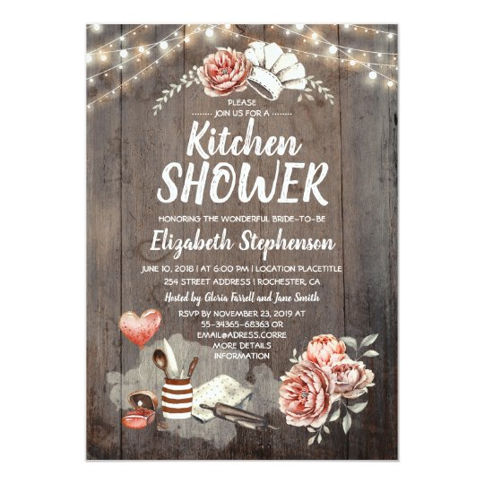 Kitchen Shower Rustic Country Bridal Invitation