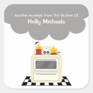 Kitchen Smoke & Fire Personalized Label Square Sticker